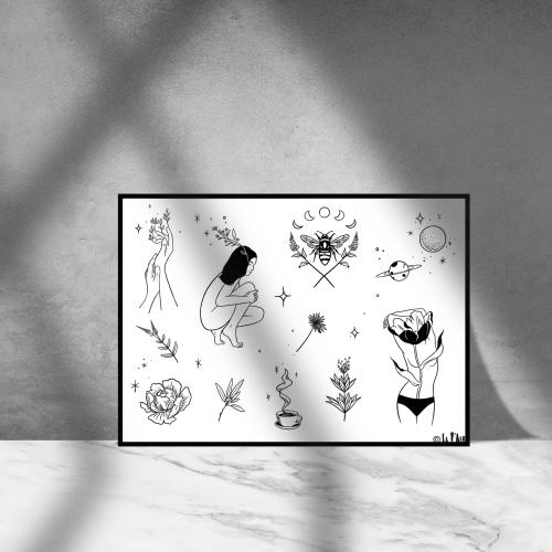 doodle bee sheet framed